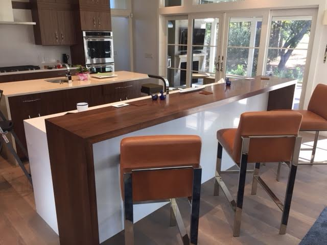 Installed walnut bar